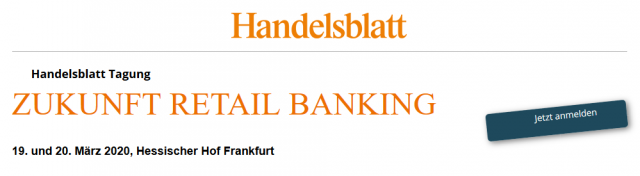 digitale Save the Date Karte zur Handelsblatt Tagung Zukunft Retail Banking