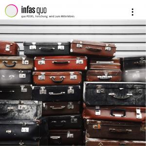 """Bild mit verschiedenen Koffern zur Unterstützung des Mottos """"Forschung wird zum Miterlebnis"""" von quo PEERS"""
