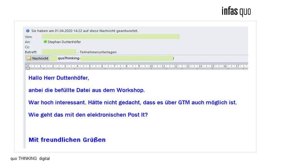 Screenshot einer Mail zu einem Workshop