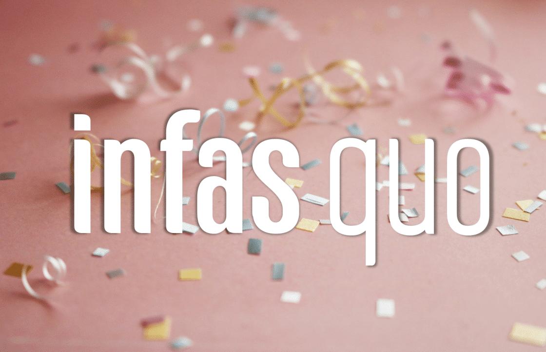 infas quo hat Geburtstag - das Logo vor einem rosa Hintergrund mit Konfetti
